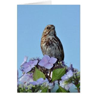 Petite carte de voeux d'oiseau chanteur