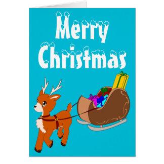 Petite carte de voeux mignonne de Noël de renne