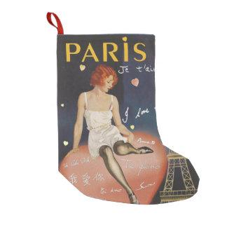 Petite Chaussette De Noël Aime de t de je de Paris, vieille affiche