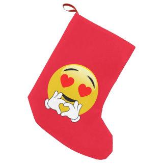 Petite Chaussette De Noël Amour d'Emoji de yeux et de mains de coeur
