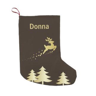 Petite Chaussette De Noël Arbre d'or avec le renne - bas de Noël