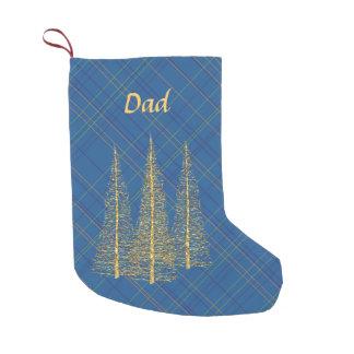Petite Chaussette De Noël Bas bleu de Noël d'arbres d'or de plaid de