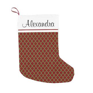 Petite Chaussette De Noël Bas de monogramme de motif de rouge et de vert