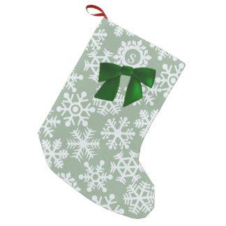 Petite Chaussette De Noël Bas de Noël de vert sauge de flocon de neige de