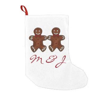 Petite Chaussette De Noël Bas de Noël d'initiales de couples de bonhomme en