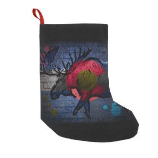 Petite Chaussette De Noël Bas de vacances d'orignaux de graffiti de drapeau
