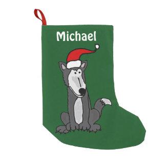 Petite Chaussette De Noël Bas drôle de Noël de loup gris