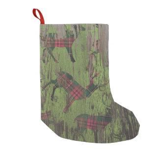 Petite Chaussette De Noël bas en bois de Noël de vacances rustiques de cerfs