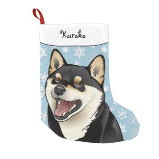 Petite Chaussette De Noël Bas noir et bronzage de Joyeux Noël de Shiba Inu