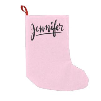 Petite Chaussette De Noël Bas rose de Noël avec la Jennifer nommée