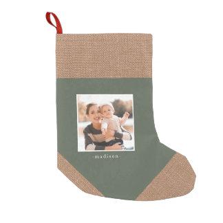 Petite Chaussette De Noël Bas rustique de photo de Noël de vert de regard de