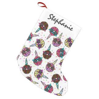 Petite Chaussette De Noël Beignet coloré mignon drôle de licorne avec des