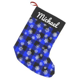 Petite Chaussette De Noël Bleu de plaid de Buffalo de flocon de neige