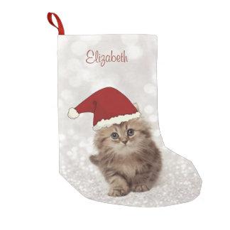Petite Chaussette De Noël Chat drôle mignon avec le casquette de Père Noël,