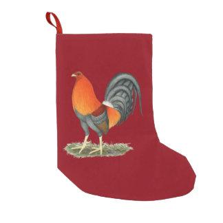 Petite Chaussette De Noël Coq de rouge bleu de coq de combat