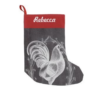 Petite Chaussette De Noël coq français de pays de tableau noir chic rustique