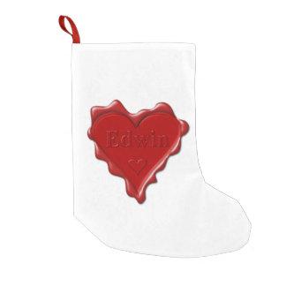 Petite Chaussette De Noël Edwin. Joint rouge de cire de coeur avec Edwin