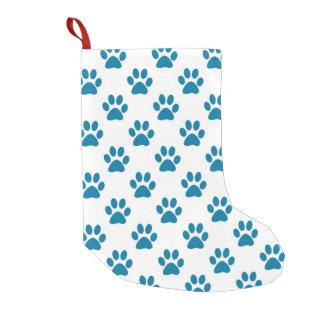 Petite Chaussette De Noël Empreintes de pattes bleus de chiot