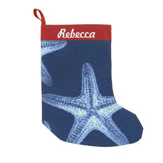 Petite Chaussette De Noël étoiles de mer bleues nautiques rustiques de plage