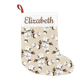 Petite Chaussette De Noël Fleurs rustiques et nom de coton de ferme