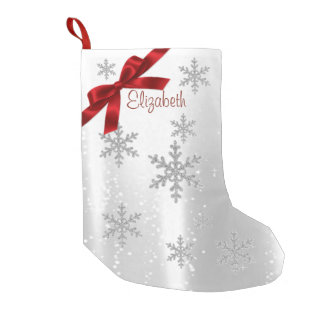 Petite Chaussette De Noël Flocons de neige brillants élégants, rouge