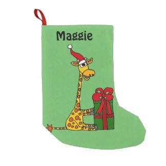 Petite Chaussette De Noël Girafe drôle avec le paquet de Noël