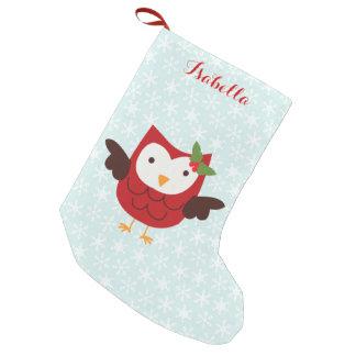 Petite Chaussette De Noël Hibou rouge de vacances personnalisé