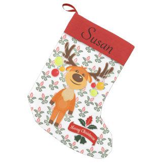Petite Chaussette De Noël Houx maladroit de renne et bas personnalisé par