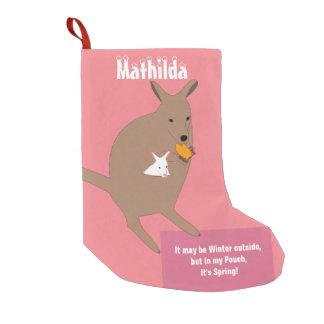Petite Chaussette De Noël Kangourou avec un dans sa poche