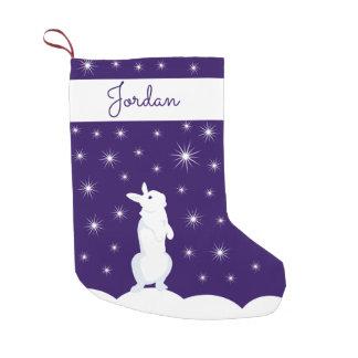 Petite Chaussette De Noël Lapin nommé fait sur commande de Noël de bas de