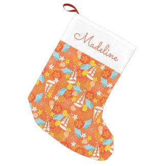 Petite Chaussette De Noël Le motif tropical   de voilier ajoutent votre nom