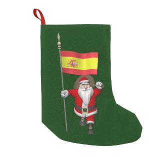 Petite Chaussette De Noël Le père noël avec le drapeau de l'Espagne