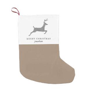 Petite Chaussette De Noël Les cerfs communs rustiques chics de plaid avec