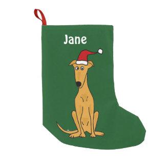 Petite Chaussette De Noël Lévrier drôle dans le bas de Noël de chapeau de