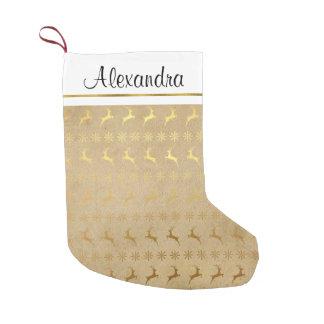 Petite Chaussette De Noël Monogramme rustique de flocon de neige de renne de
