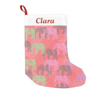 Petite Chaussette De Noël motif floral tribal coloré d'éléphant