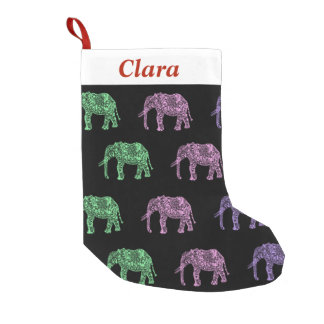 Petite Chaussette De Noël motif floral tribal coloré d'éléphant de boho