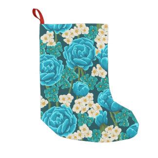Petite Chaussette De Noël Motif peint à la main floral de rose bleu d'aqua