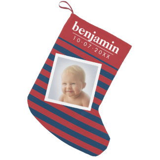 Petite Chaussette De Noël Motif rayé de photo de bébé et de garçon mignon