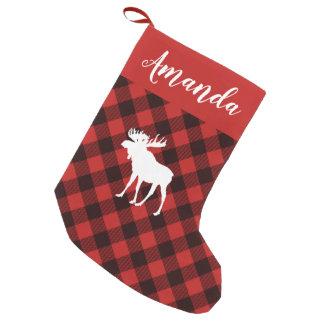 Petite Chaussette De Noël Noël rouge et noir d'orignaux et de Buffalo de