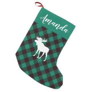 Petite Chaussette De Noël Noël vert de motif de plaid d'orignaux et de