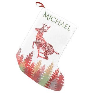 Petite Chaussette De Noël Nom rouge de forêt de renne d'aluminium