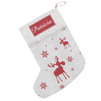 Petite Chaussette De Noël Orignaux rouges et bas rouge de Noël de flocons de