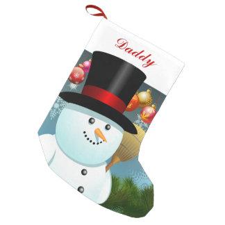 Petite Chaussette De Noël Papa drôle de bonhomme de neige avec le casquette