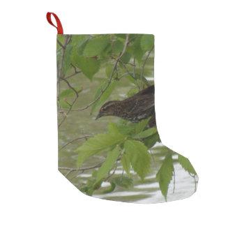 Petite Chaussette De Noël pêche noire à ailes rouges d'oiseau d'une branche