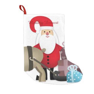 Petite Chaussette De Noël Père Noël et son renne avec des cadeaux