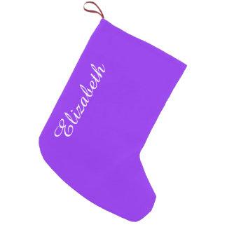 Petite Chaussette De Noël Personnaliser pourpre au néon de couleur solide il