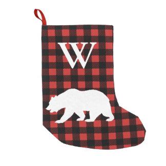Petite Chaussette De Noël Plaid rustique de contrôle de Buffalo et ours