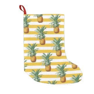Petite Chaussette De Noël rayures jaunes de pinepples