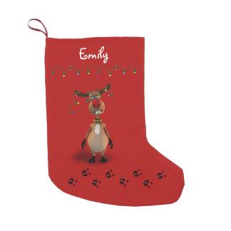 Petite Chaussette De Noël Renne flairé rouge de Noël drôle - bas